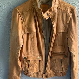 Banana Republic camel leather bomber jacket